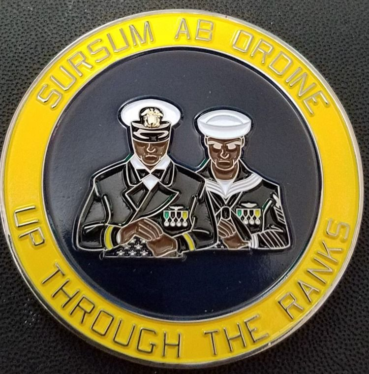 Sursum Ab Ordine -Up From the Ranks  Are you a #mustang this #wednesday #evening? As we watch the #sunset on our #workday we wanted to share this coin we #made for an @usnavy #ocs class made for those #enlisted #sailors who worked hard to attend and get promoted to become #navalofficers. Are you #buckingthetrends to dominate in your #profession ?#sursumabordine #USN #usnavy #warrantofficer #challengecoin #challengecoins #phoenixchallengecoins  #navychief #goatlocker #deckplateleadership
