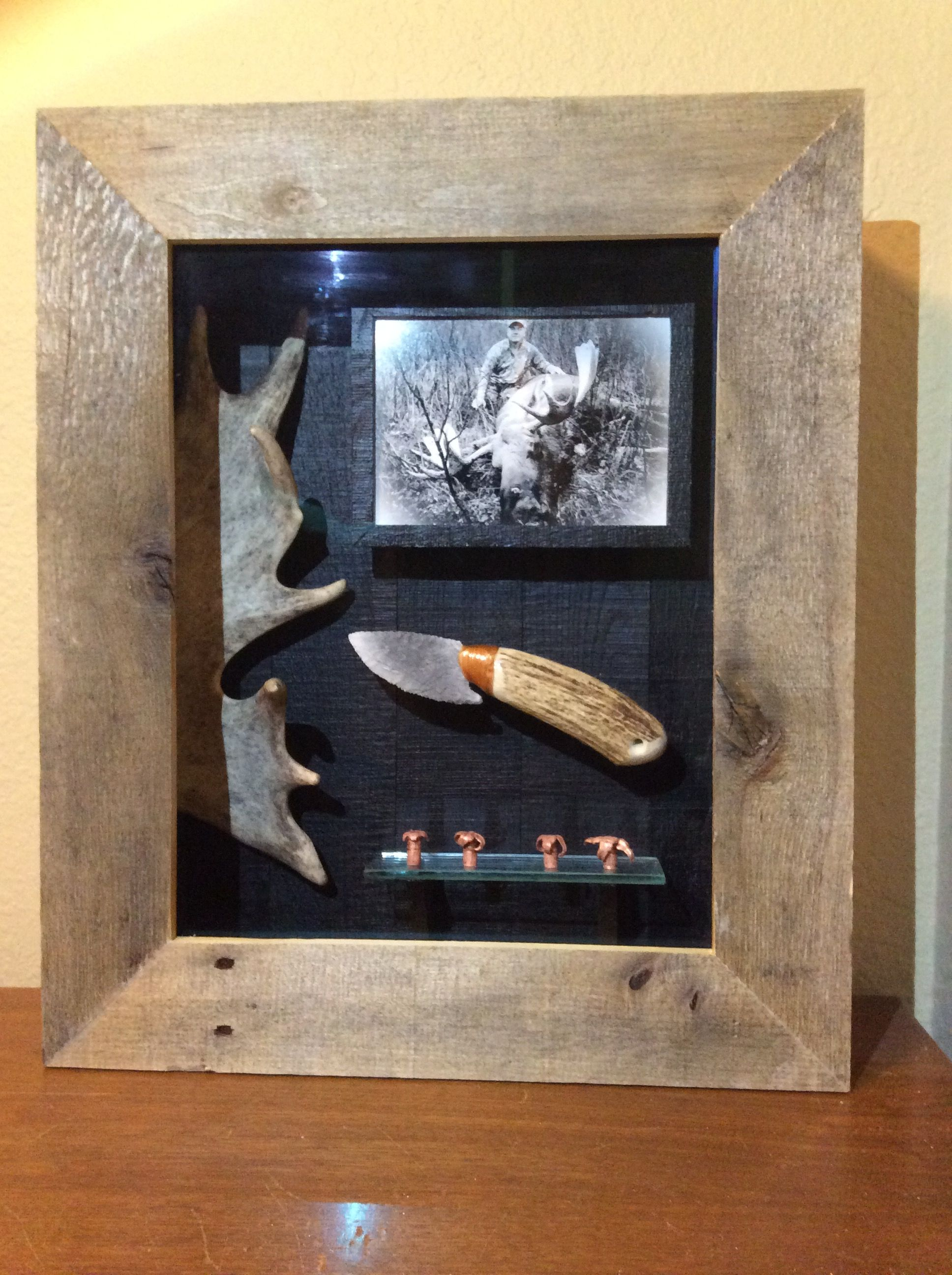 Shadow Box Handmade Knife Kh Caribou Shovel Shed Found While Hunting 4 Bullets Recovered From 4 Different Moose Pho Shadow Box Handmade Knives Shadow