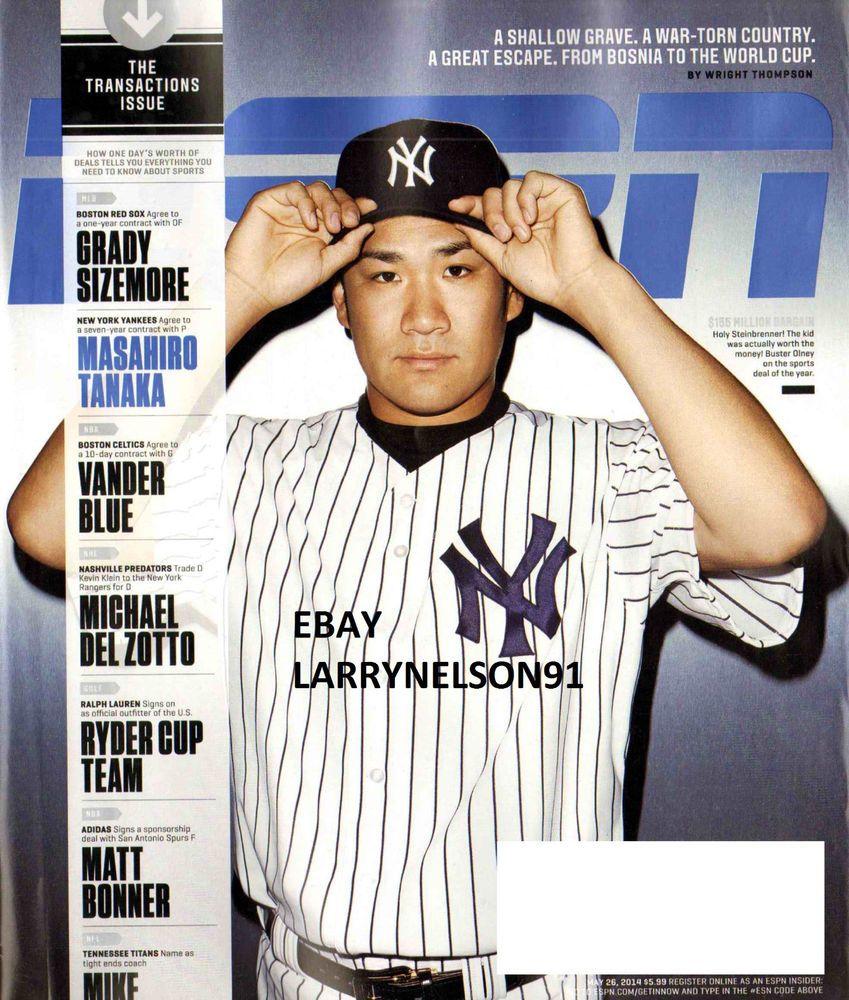 Espn Magazine May 26 2014 Masahiro Tanaka Grady Sizemore New York Yankees Boston Espn Magazine Sports Magazine Covers New York Yankees