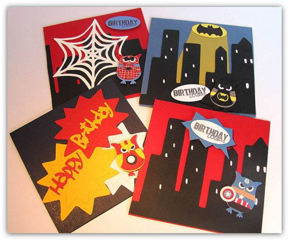 Handmade Cards Birthday Superhero Boy Owls By Bilbo And Beebee 5 50 Each Kids Birthday Cards Cards Cards Handmade
