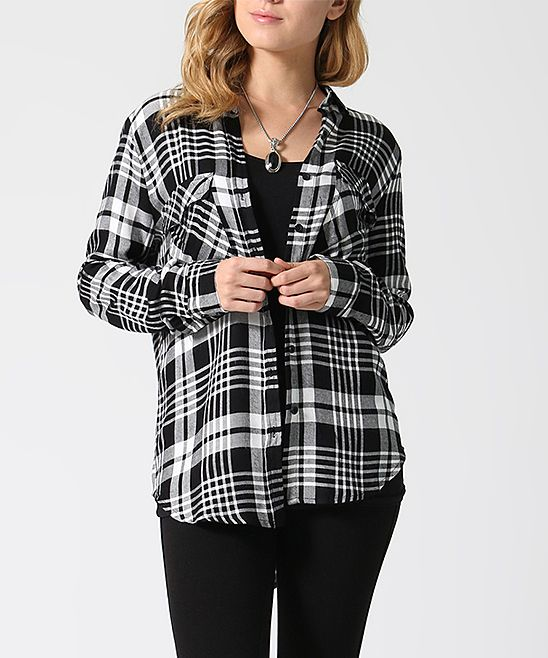 Gray & Black Plaid Roll-Tab Button-Up Top
