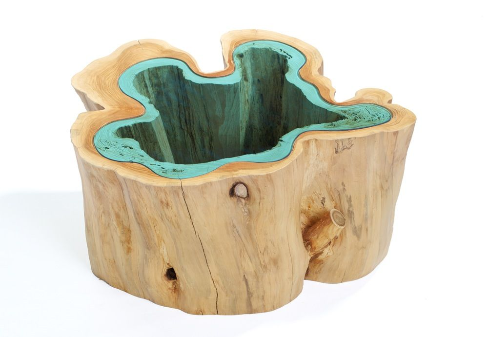"nature's giftmade from a hollowed cedar trunkhighlighted with hand-cut blue glass inlaygreat textures and natural colors""one-of-a-kind*approx. 36"" wide"
