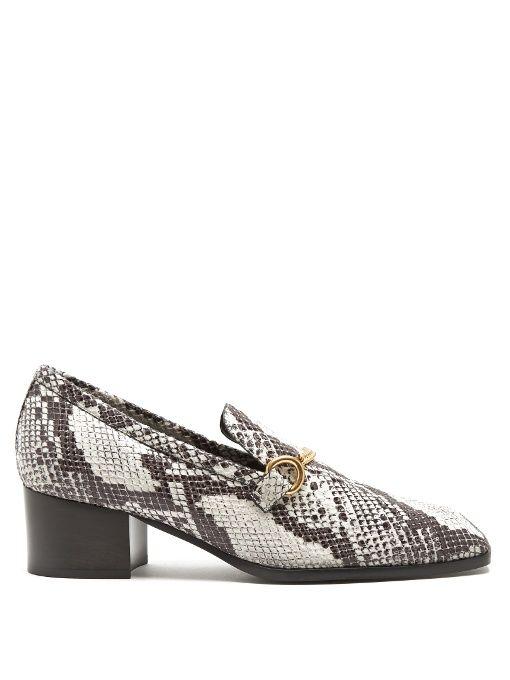 7575bcf7a78 STELLA MCCARTNEY Python-Effect Faux-Leather Block-Heel Loafers.   stellamccartney  shoes  flats
