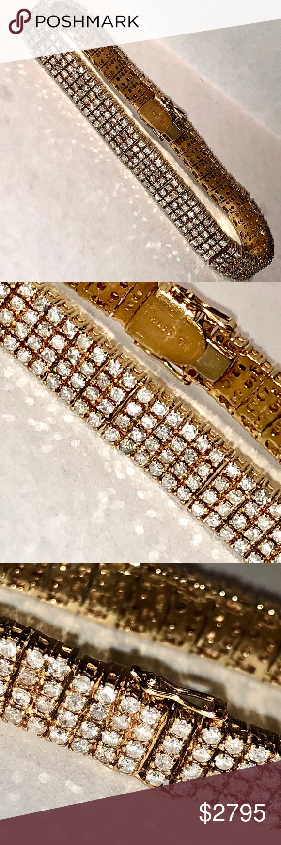K gold tcw si h diamonds tennis bracelet estate k rose