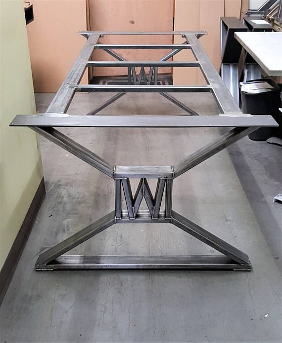 Modern industrial dining table legs with builded w for Dining table frame design