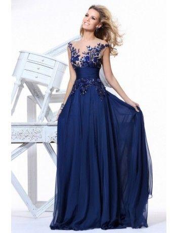 Elegant Scoop Sweep Train Embroidery Chiffon Prom Dress