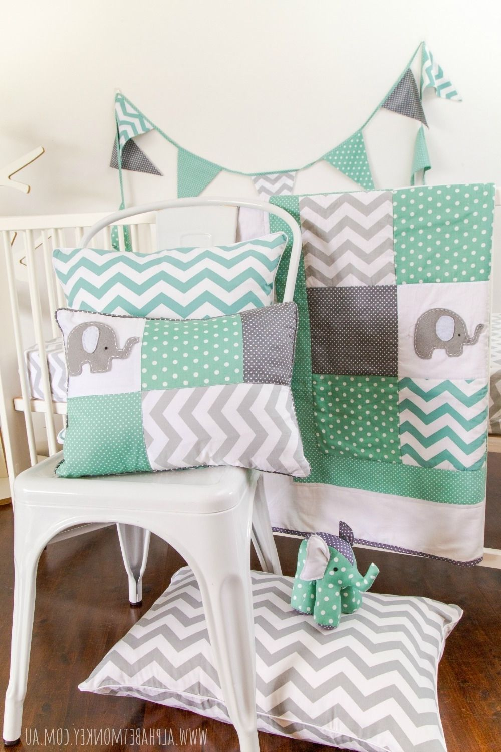 Baby Nursery Mint And Grey Alphabet Monkey Within
