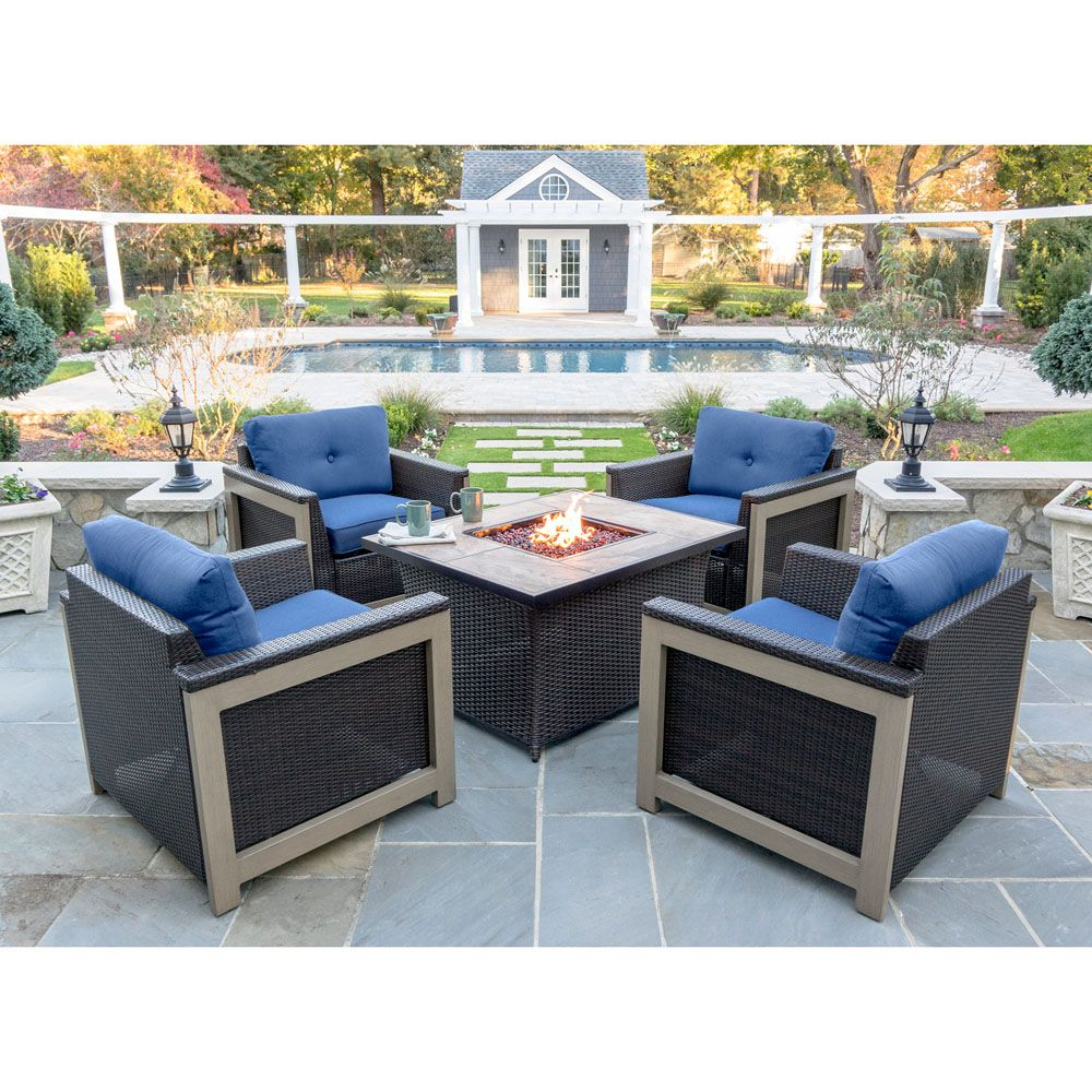 Montana 5 Piece Fire Pit Chat Set In Navy Blue With 40 000 Btu Fire Pit Table Mnt5pcfp Nvy Tn Fire Pit Table Fire Pit Chat Set Costco Patio Furniture