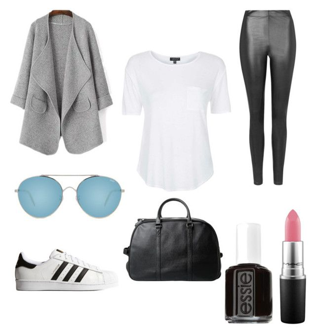 """""""Into The Grey//Kendall Jenner"""" by kenandky ❤ liked on Polyvore featuring MANGO, Topshop, Quay, adidas Originals, Essie, MAC Cosmetics, grey, mac, kendalljenner and kardasian"""