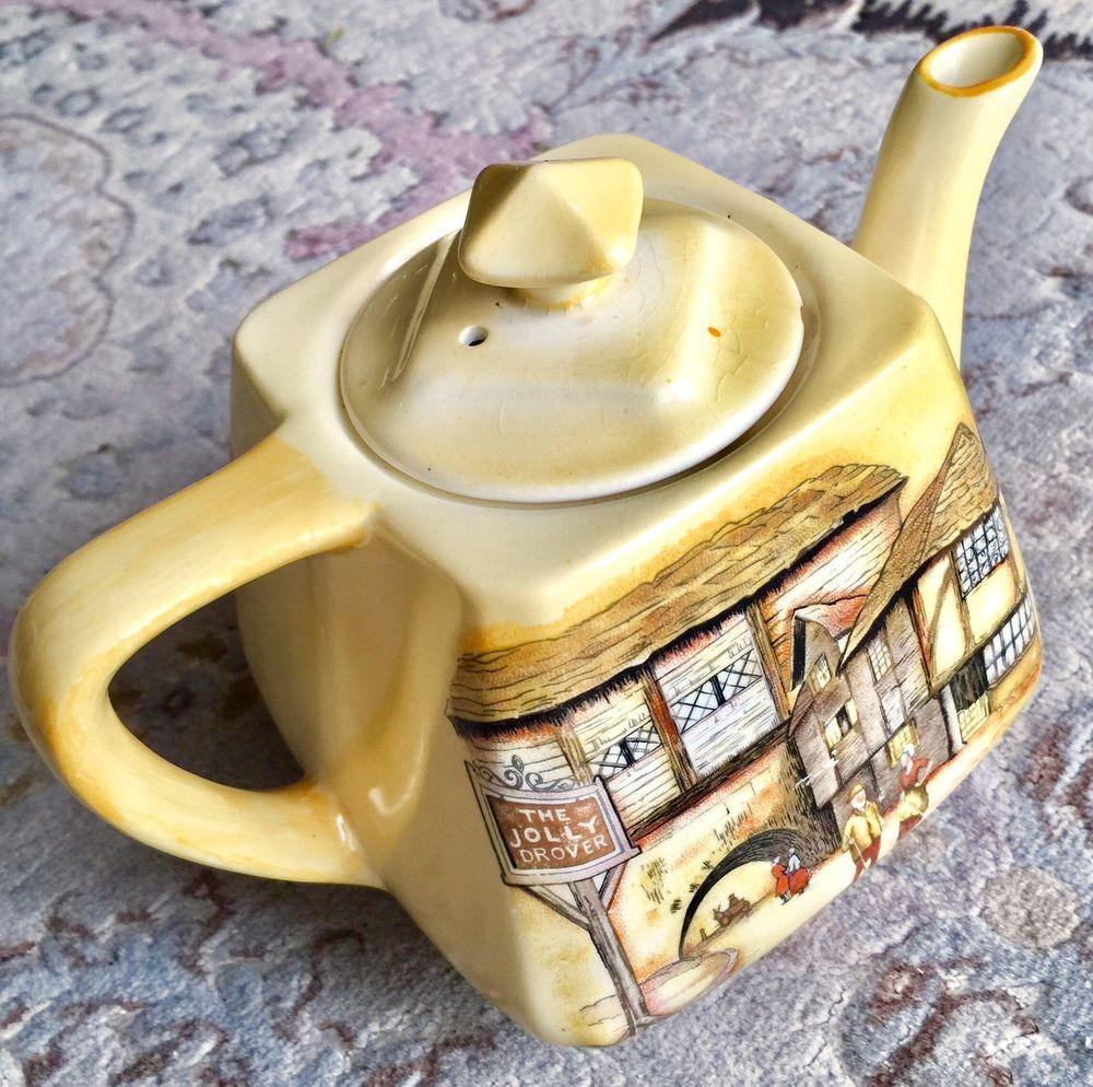 Rare Antique English Lancaster Amp Sons 034 The Jolly Drover Inn 034 Porcelain Teapot Tea Pots Porcelain Teapot Rare Antique