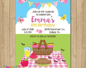 picnic birthday party invitation picnic party invitation sunflowers