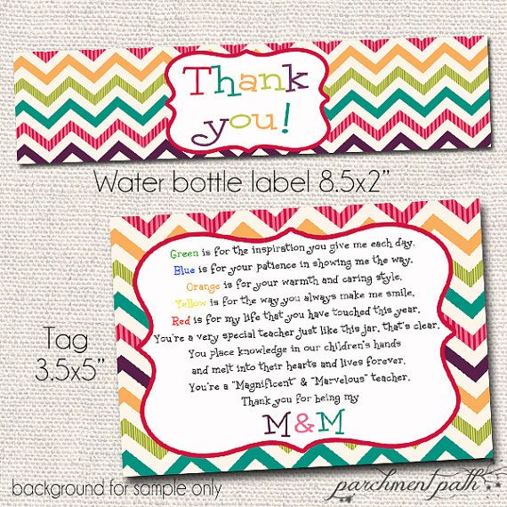 53e1c29fe This listing is for an instant download of colorful thank you water bottle  labels and Magnificent   Marvelous teacher gift tags! They are the