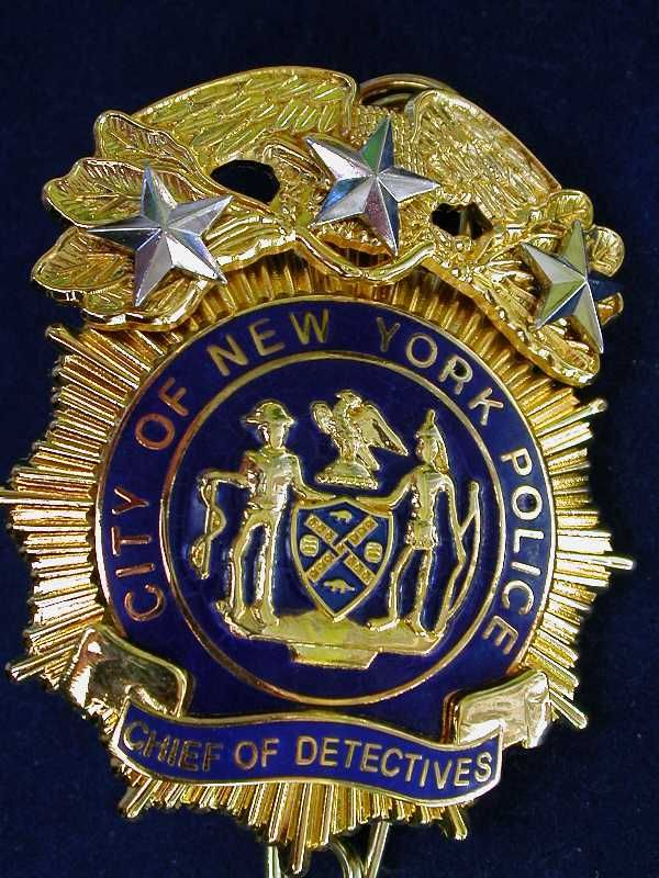 NYPD Chief of Dectectives Police badge, Badge, Nypd