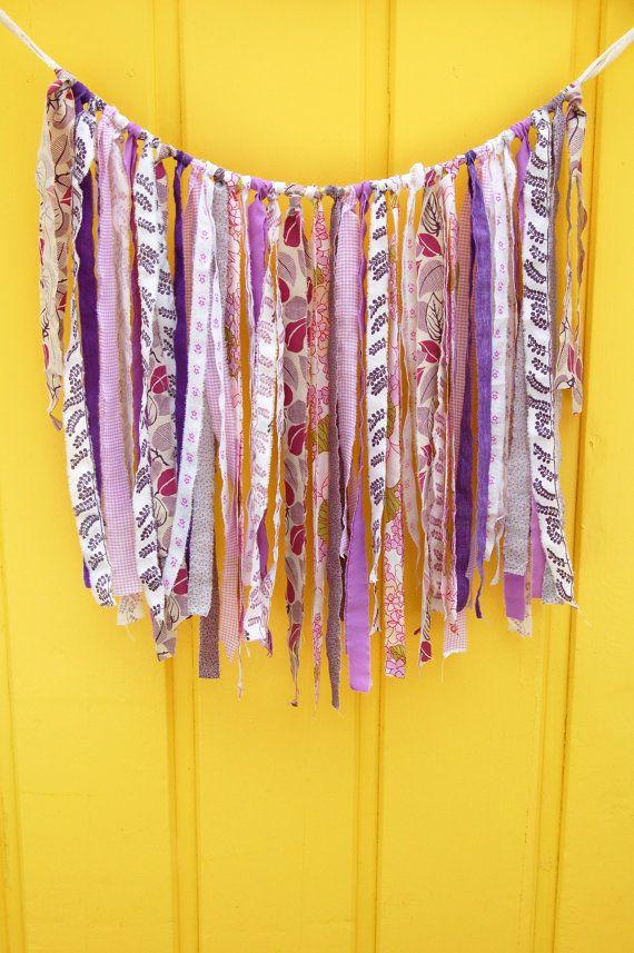 fabric tassel garland, ribbon garland, garland decoration, ribbon ...