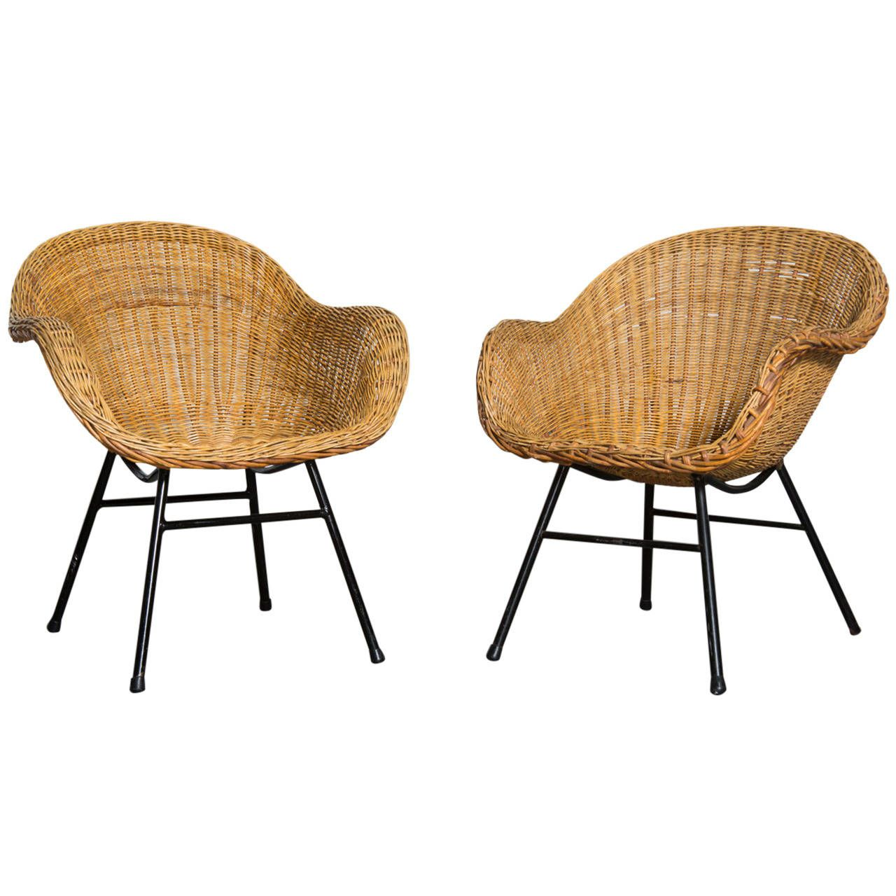 Pair Of Jacques Adnet Style Woven Rattan Chairs