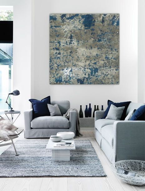 Wall Canvas Art large abstract painting teal blue navy grey gray white canvas art