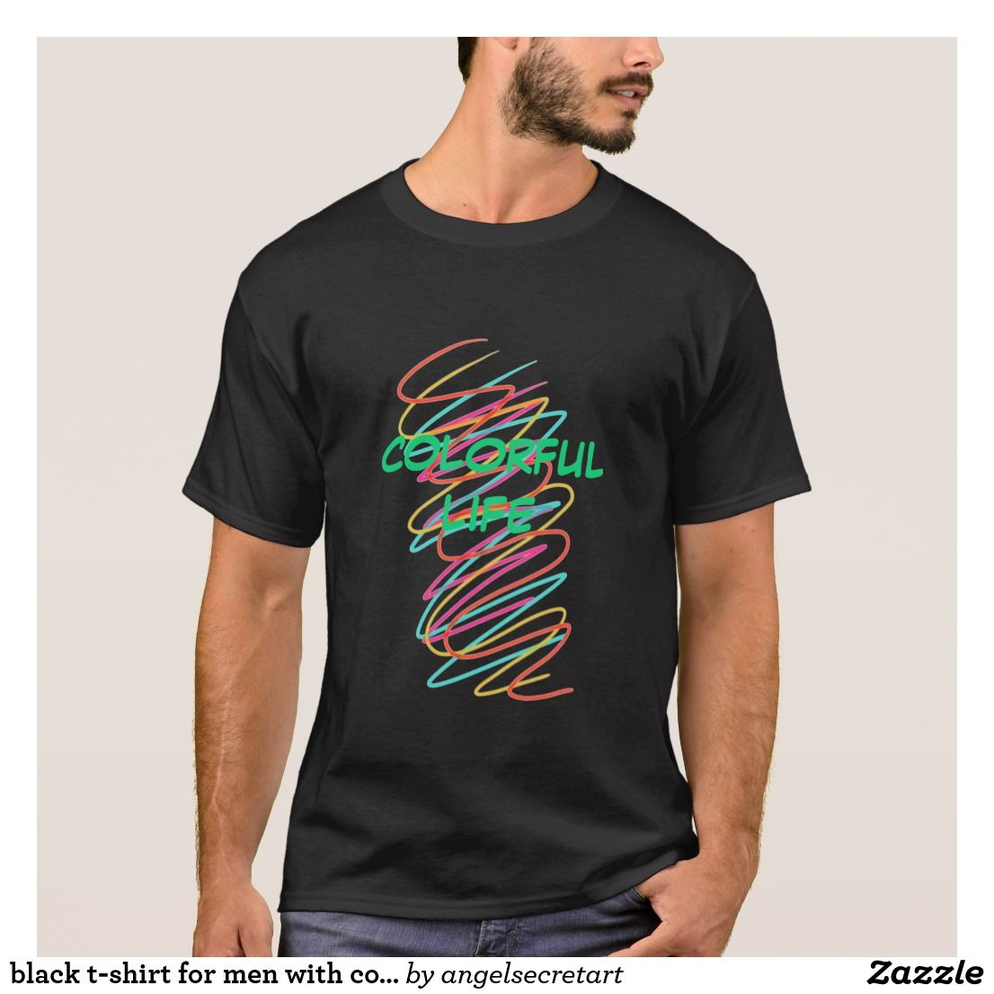Zazzle t shirt design size - Black T Shirt For Men With Colorful Spiral Design