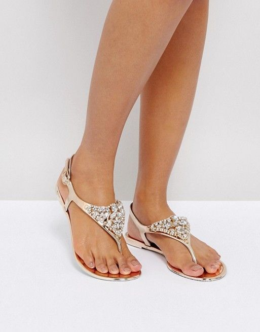 f82d36805d21 River Island Toe Post Embellished Jelly Flat Sandals