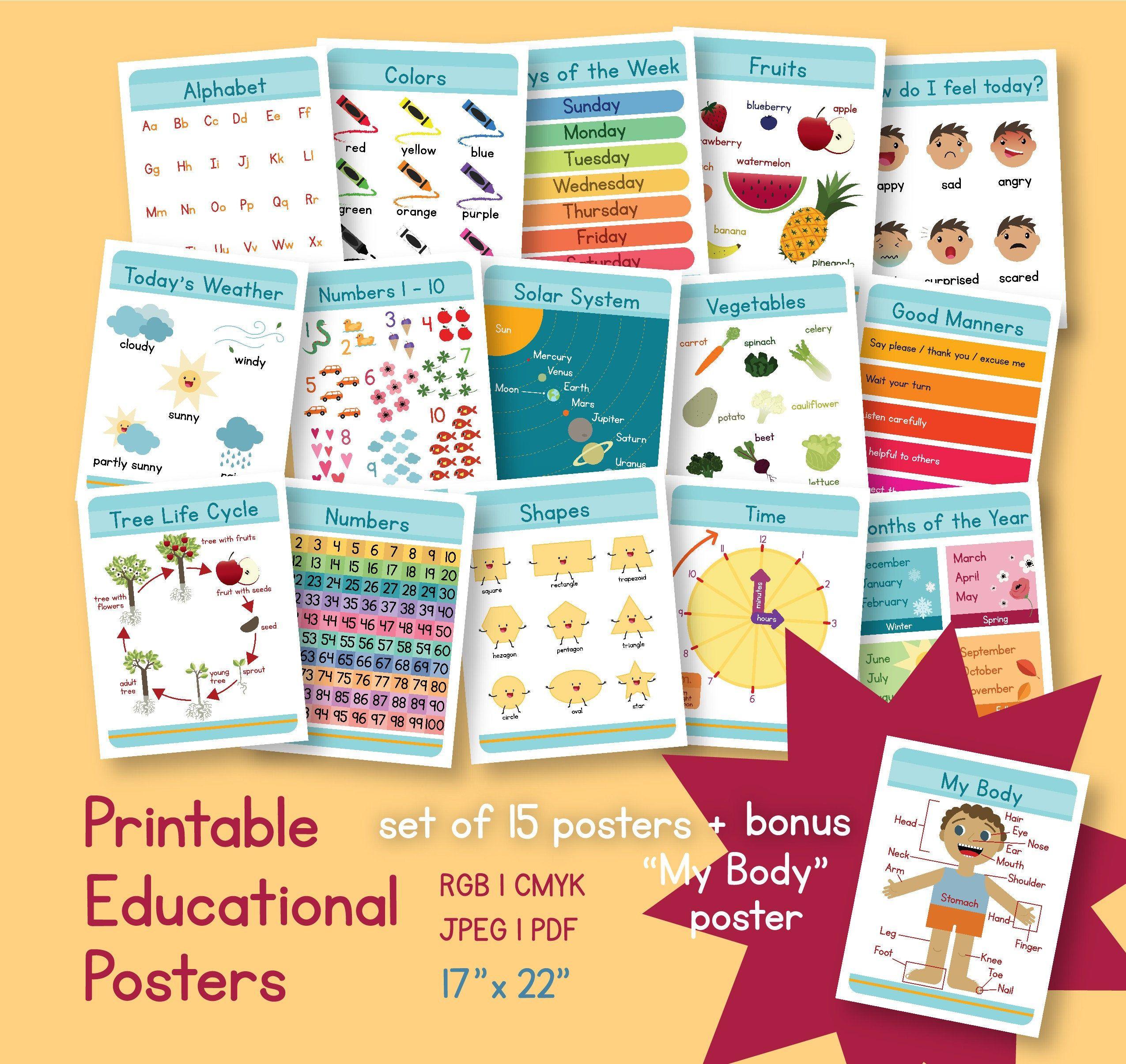 Printable Educational Posters For Toddlers Preschoolers