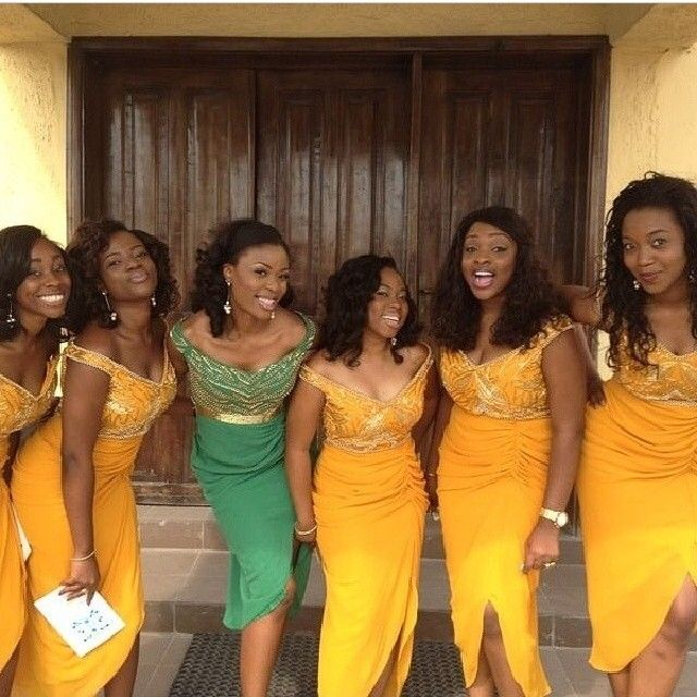 Chief Bridesmaids Dress In Green Gold Yellow Dresses Nigerian Wedding