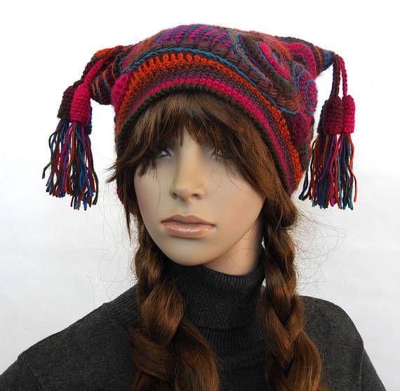 Freeform Crochet Beanie, Jester Hat, Women\'s Beanie, Harlequin ...