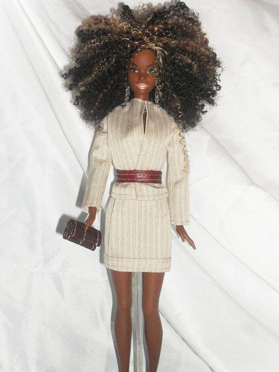Barbie Doll Clothes  Beige Pinstriped Skirt by NiteBabyDollWorld, $12.00