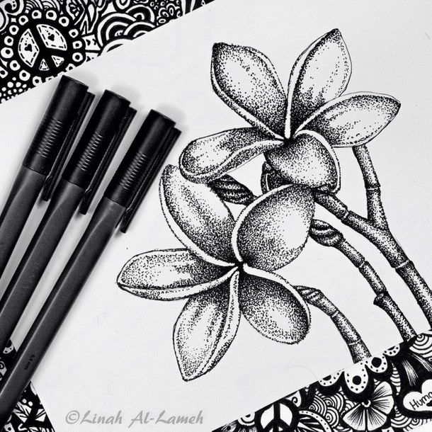 Art Black And White Doodle Drawing Flower Flowers Pointillism