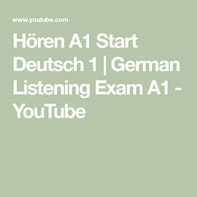 Hören A1 Start Deutsch 1   German Listening Exam A1