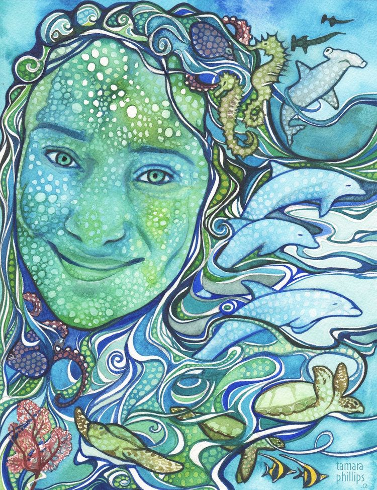 Tamara Phillips WATERCOLOR Sea Nymph Watercolor sea