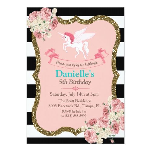 Unicorn glitter birthday party invitation pinterest glitter glitter birthday party invitations unicorn glitter birthday party invitation filmwisefo