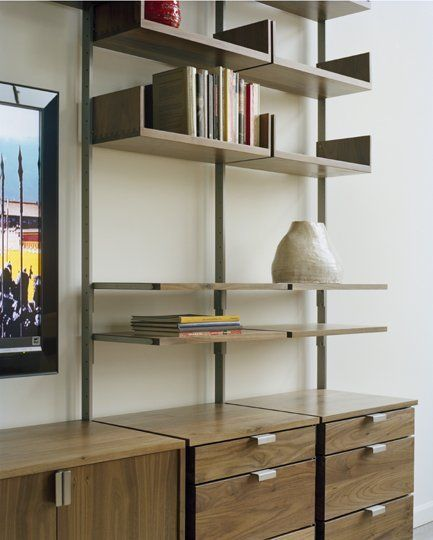 atlas as4 wall mounted tv stand, home office, and library shelving
