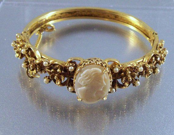 Cameo Jewelry Bracelets Bracelets for Women Jewelry Rhinestone Cuff Bracelet Cameo Repurposed Vintage Bracelet Cameo Pendant