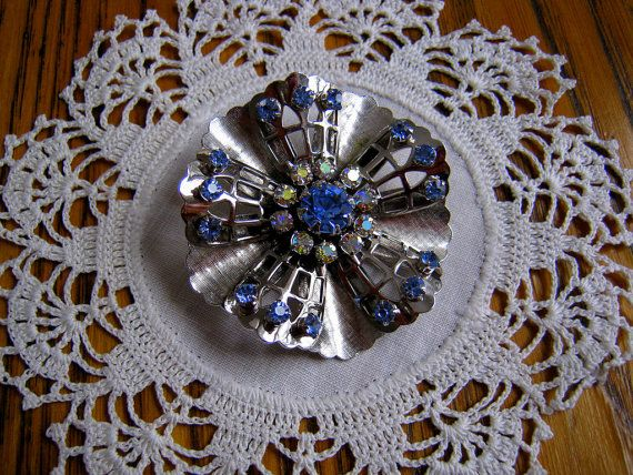 Vintage Coro Brooch Silver with Blue and by BeautifulPurpose