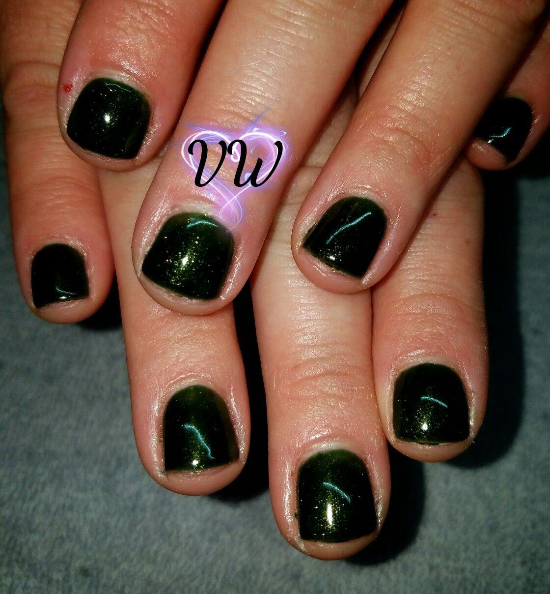 Dark sparkling green gel polish manicure   nails I have done ...