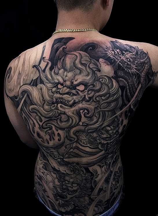 Chronic Ink Tattoos Toronto Tattoo Shop: Toronto Tattoo Full Back Foo Dog