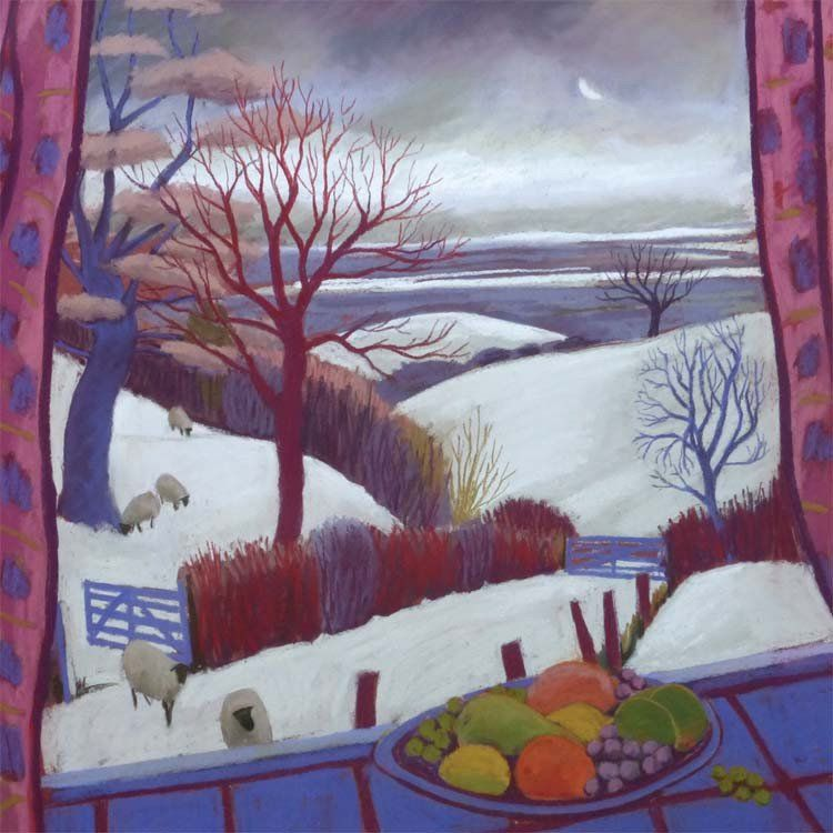 Fine art greeting card pastel winter view from window scenery fine art greeting card pastel winter view from window m4hsunfo