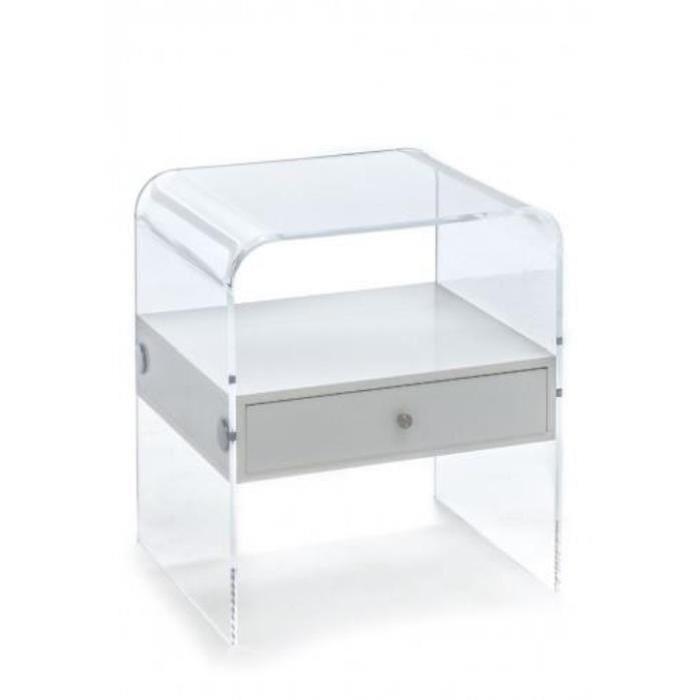 Table De Chevet En Plexiglas Acrylique Transparent Avec Tiroir Blanc Style Rialto Night Table De Chevet Tiroir Chevet