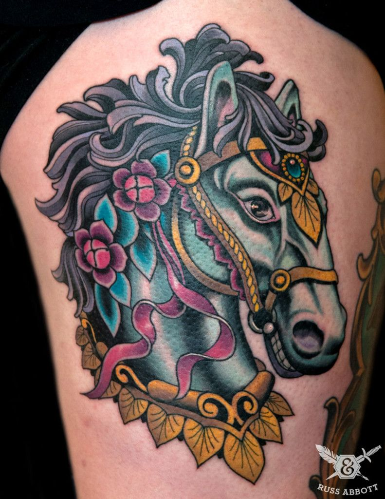 carousel horse tattoo by russ abbott color tattoos
