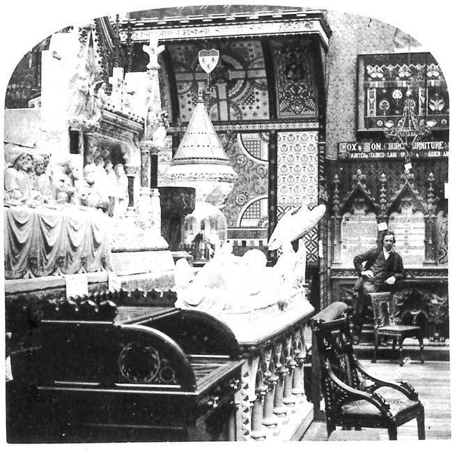 1862 Medieval Court with Cabinets by Burges. See Plate 81, Nineteenth Century Design from Pugin to Mackintosh by Charlotte Gere and Michael Whiteway, (London: Weidenfeld and Nicolson, 1993).