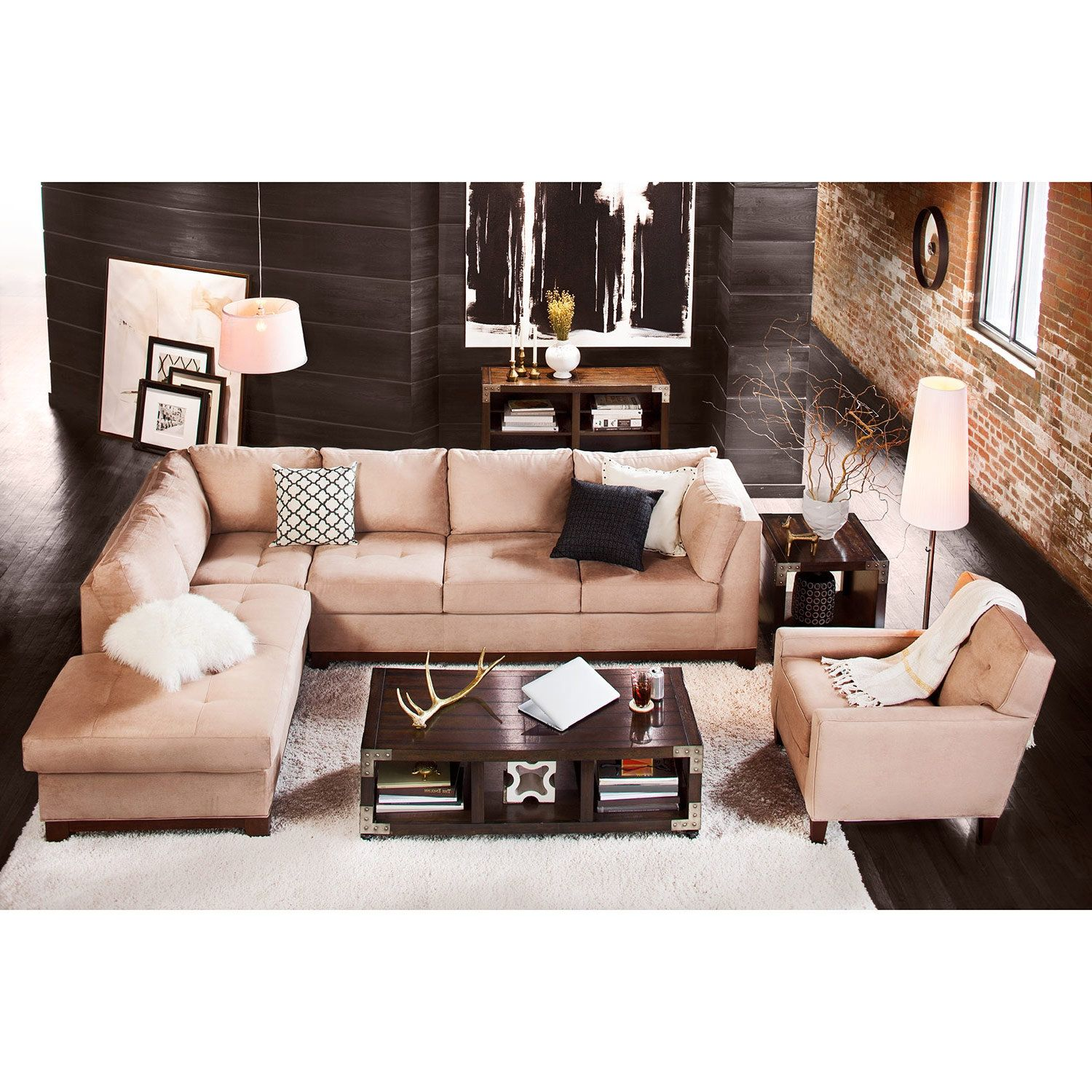 Marvelous Soho 2 Piece Sectional With Chaise Houseeee Value City Onthecornerstone Fun Painted Chair Ideas Images Onthecornerstoneorg