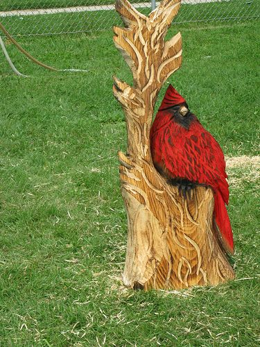 Cardinal chainsaw carvings and statues pinterest