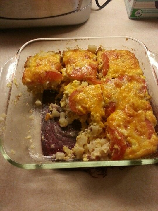 Hashbrowns egg bake. I precooked the hashbrowns in milk and sour cream. Took away the starchy flavor from the potatoes. The tomato slices are a nice addition on top.