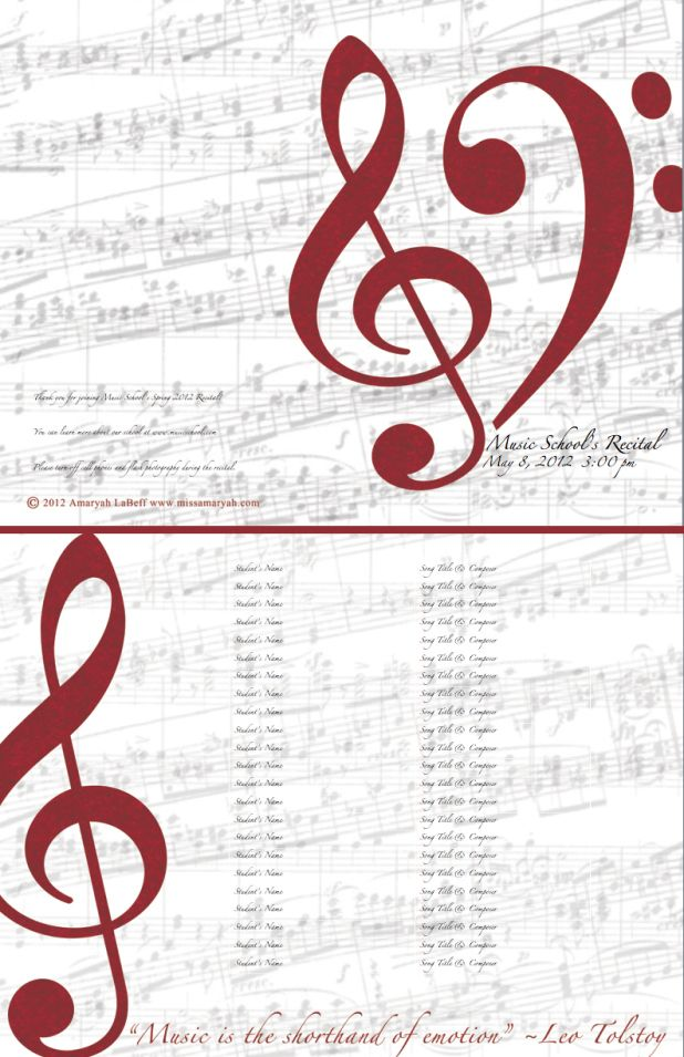 Free Download Editable Recital Program Templates  Music Class