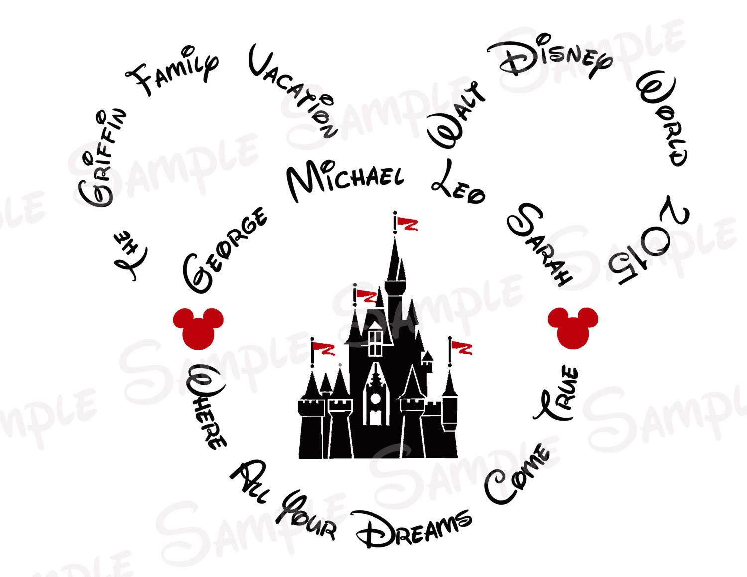 Disney World Castle Custom DIY Printable Iron On Transfer Or Door Magnet Family Vacation By TwoByTuTuCreations Etsy