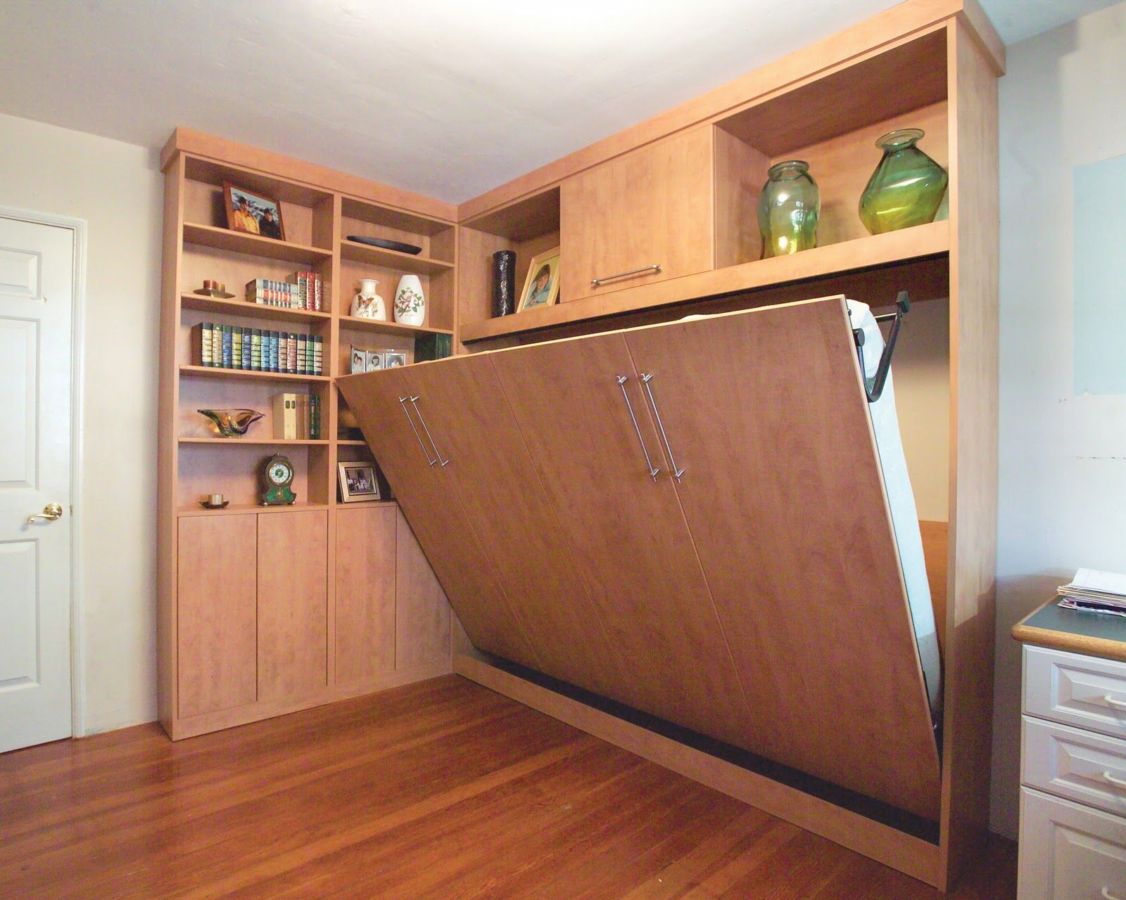 Trendy Wall Hidden Bed Desk Combo With Lshaped Open