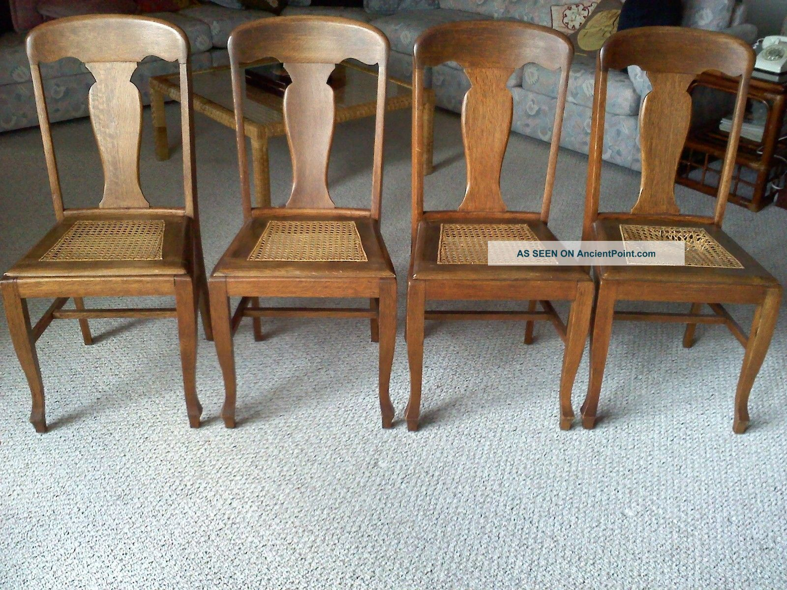 tiger oak dining chairs high back furniture antique 1900 39 s round