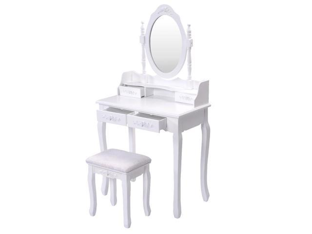 Makeup Dressing Table Vanity, Rotation Removable Mirror Dressing Vanity Table Makeup Desk With Stool White