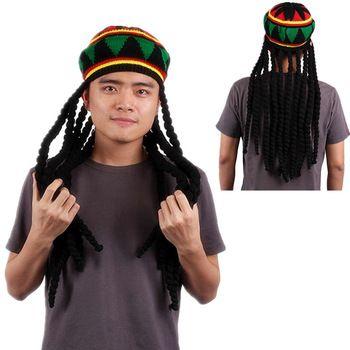 Moda para hombre adulto jamaicano de Rasta sombrero Dreadlocks peluca Bob  gorros Marley caribe Fancy Dress hicieron punto los sombreros con pelucas d0611d3308f