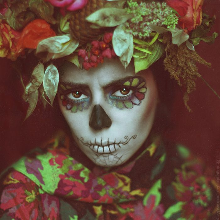 Image issue du site Web http://designbump.com/wp-content/uploads/2014/09/dia-de-los-muertos-mexican-make-up-16.jpg