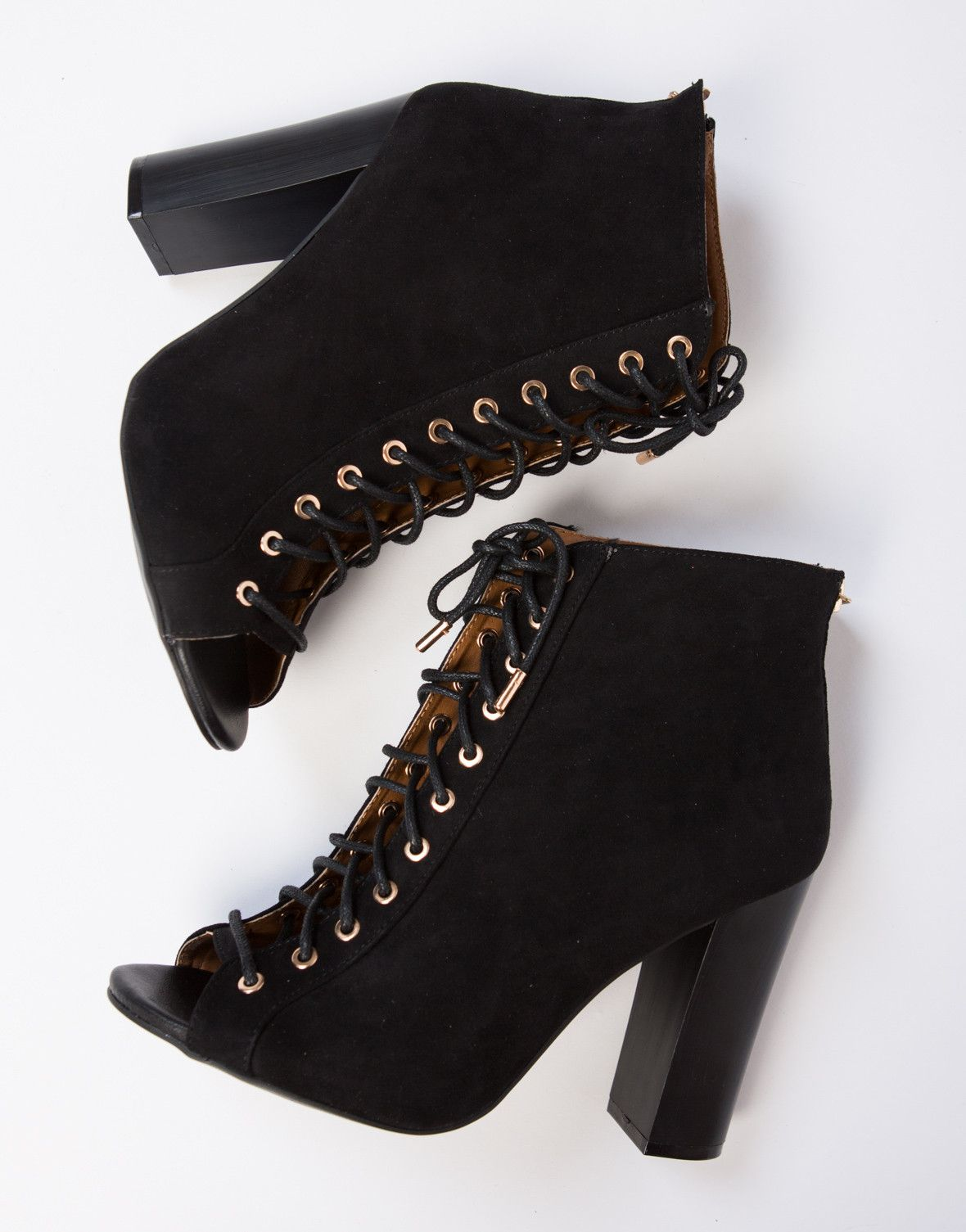 37ea11d1fc2f Peep Toe Lace-Up Booties